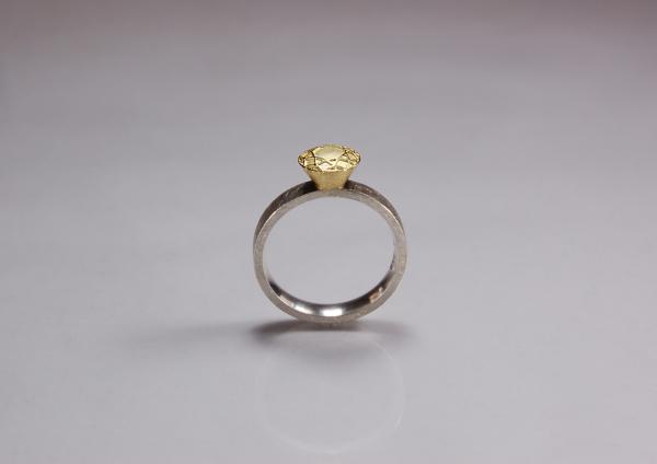 Solitär Ring, Ringschiene aus Silber, kombiniert mit gelbgoldener Fassung für Brillant