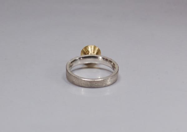 Bicolor Schmuck, Ring aus Silber mit goldenem Brillant