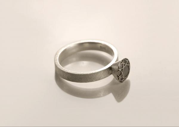 solitärring aus Silber