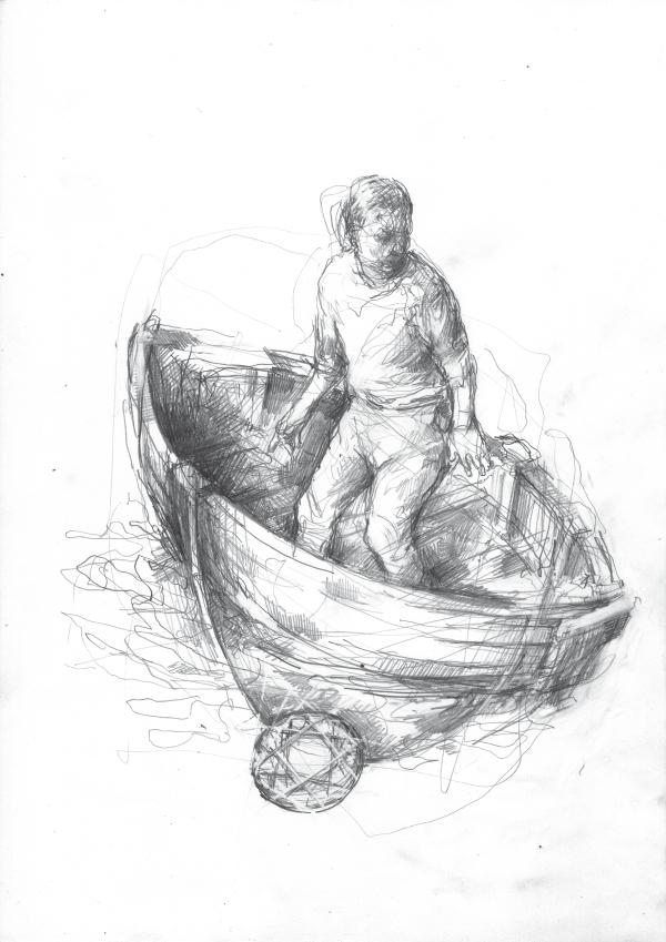 """Wir stellen Kunst vor, Zeichnung von Kai Klahre """"Mann im Boot"""""""