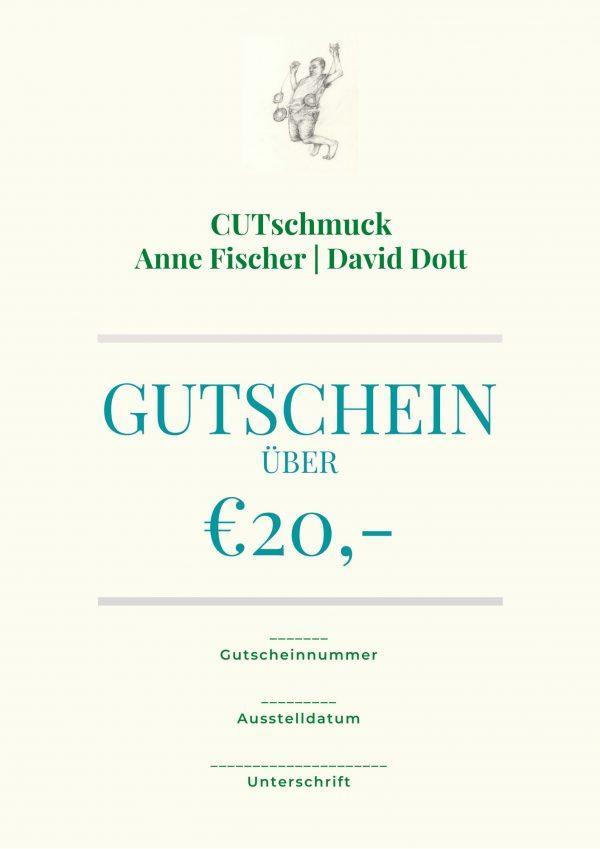 Gutschein über 20 €, von Cutschmuck, Anne Fischer und David Dott