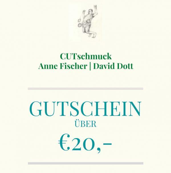 Gutschein über 20 Euro, von Cutschmuck, Anne Fischer und David Dott