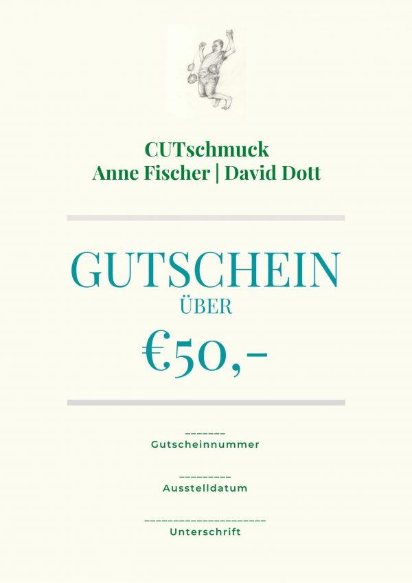 Gutschein über 50 €, von Cutschmuck, Anne Fischer und David Dott