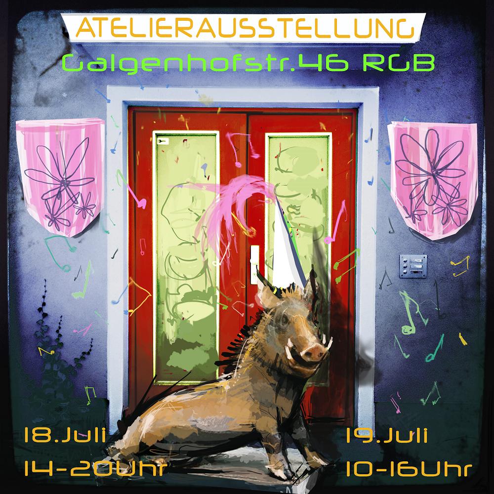 Atelierhaustür der Galgenhofstrasse 46 Rg mit Wildschwein davor, als Einladung zum Atelierfest 2020